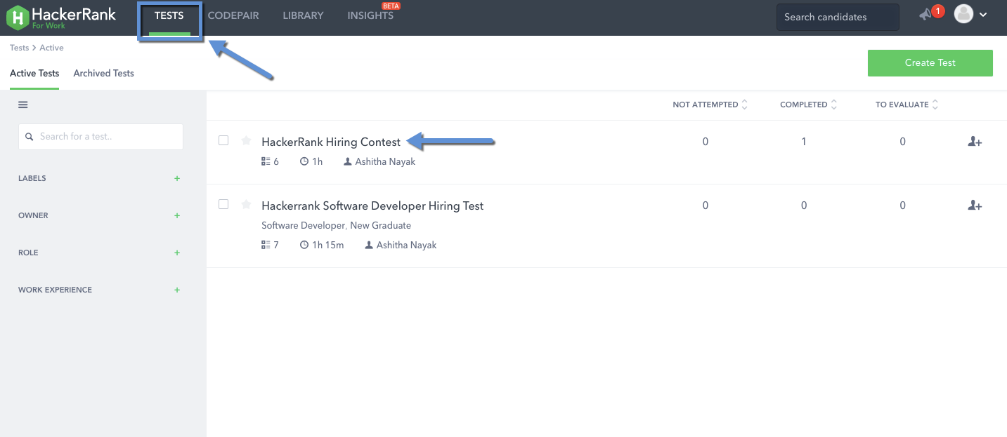Candidate settings for a test – HackerRank Support Center
