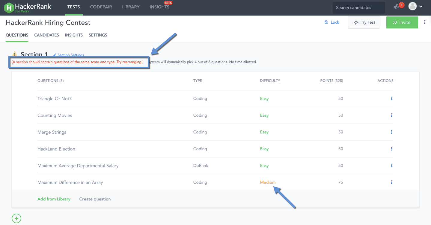 Section based testing – HackerRank Support Center