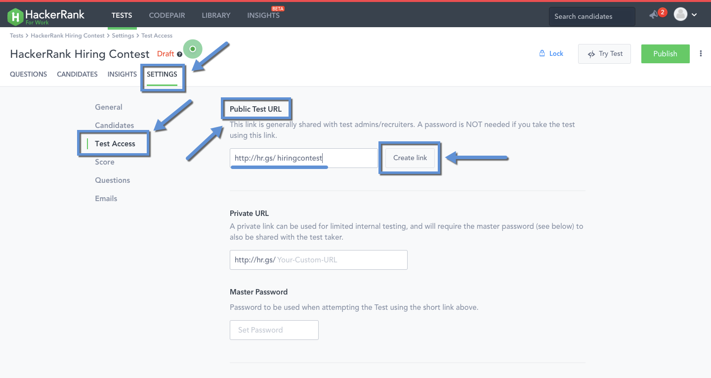 Test access settings – HackerRank Support Center