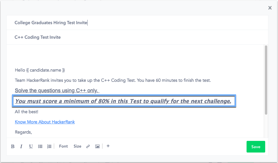 Editing An Email Invite Template HackerRank Support Center