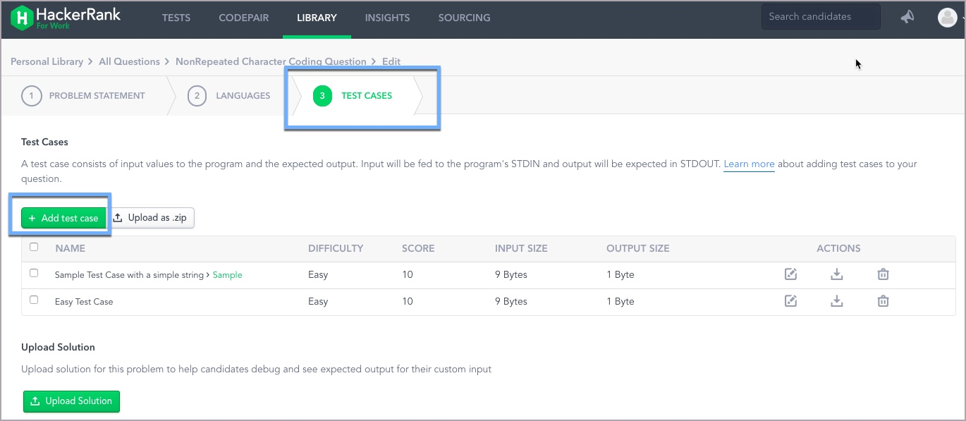 Adding test cases to coding Questions – HackerRank Support Center