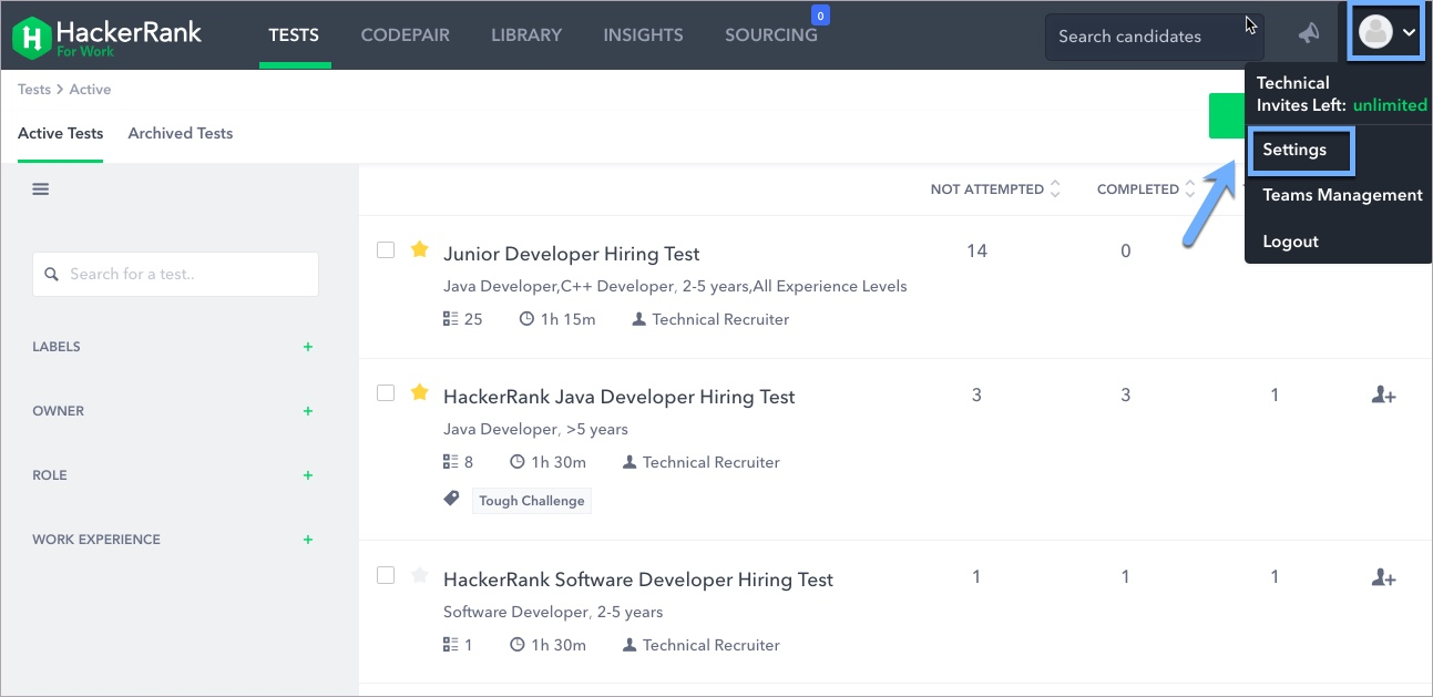 Email notifications – HackerRank Support Center
